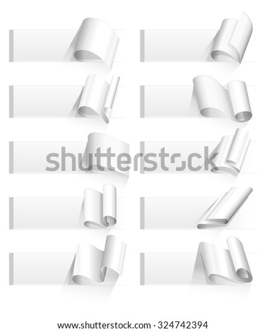 Set of ten curved corners on white sheets with realistic shadows. Rolled paper - stock vector