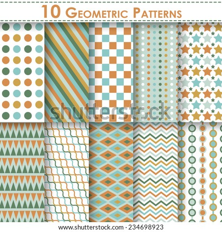Set of ten geometric vector seamless patterns. Endless texture can be used for web design, printing onto fabric and paper or scrapbooking. Swatches included