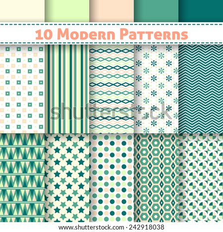 Set of ten modern vector seamless patterns. Endless texture can be used for web design, printing onto fabric and paper or scrapbooking. Swatches included