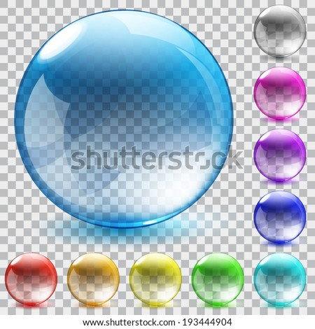 Set of ten multicolored transparent glass spheres with shadowson checkered background - stock vector