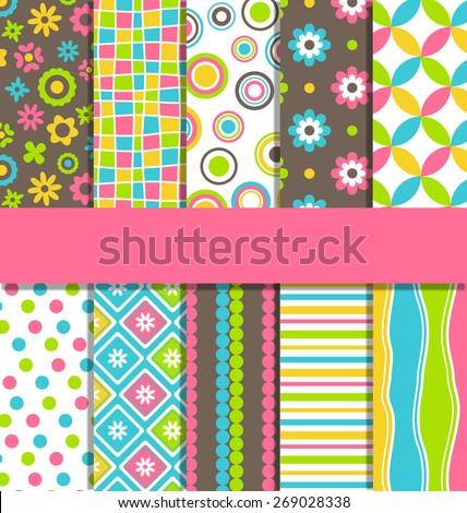 Set of ten 10 seamless bright fun abstract patterns - stock vector