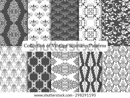 Set of ten seamless damask patterns. Classic black and white wallpapers. Vintage vector backgrounds. - stock vector