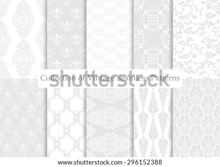 Set of ten seamless damask patterns. Classic grey wallpapers. Vintage vector backgrounds. - stock vector