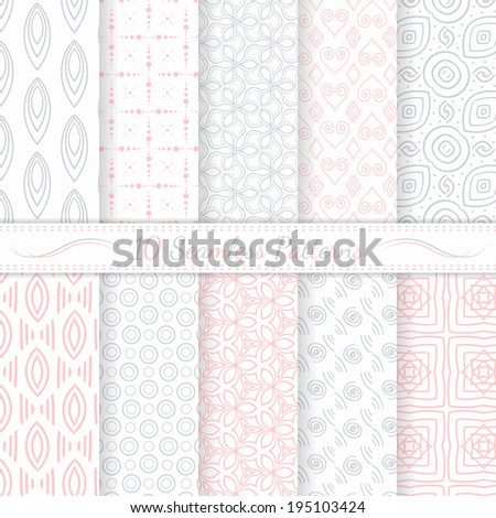 Set of ten seamless modern patterns. Gray and pink soft  colors. Swatches of seamless patterns included in the file.
