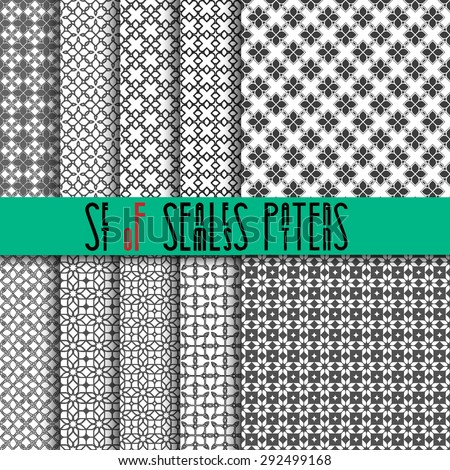 Set of ten seamless pattern in oriental style. Vector EPS10 - stock vector