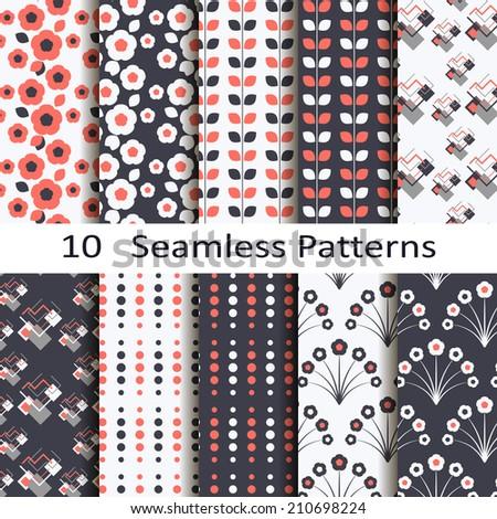 set of ten seamless patterns - stock vector