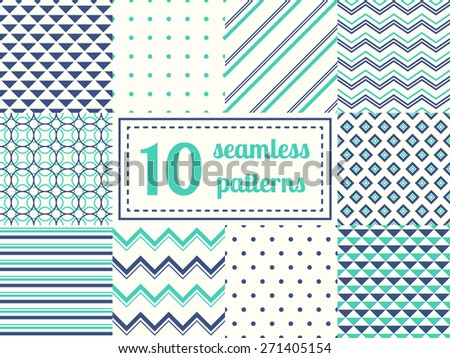 Set of ten seamless patterns in retro soft colors. Classic backgrounds. Vector illustration. - stock vector