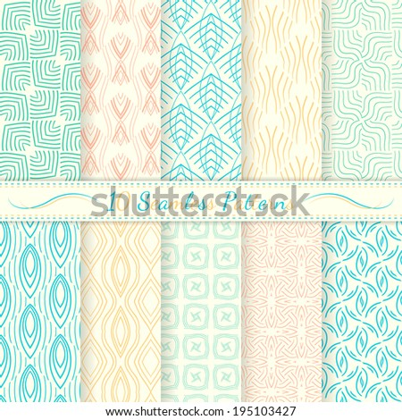 Set of ten seamless retro patterns. Simple lines, soft colors. Swatches of seamless patterns included in the file.
