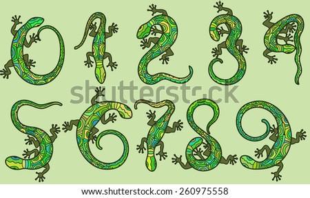 Set of ten vector numbers like lizards. - stock vector