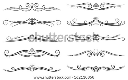 Set of ten vector page decorations - stock vector