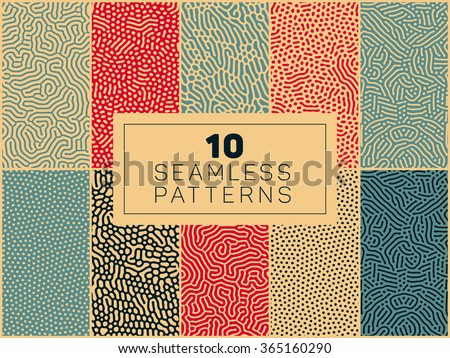 Set of Ten Vector Seamless Organic Rounded Lines And Drips Biological Patterns In Blue Red and Tan Colors Abstract Background - stock vector