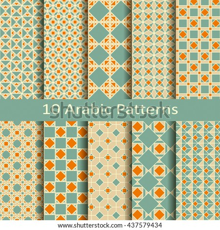 set of ten vector seamless traditional arabic patterns