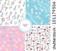 Set of tender pastel seamless patterns � keys and sews - stock vector