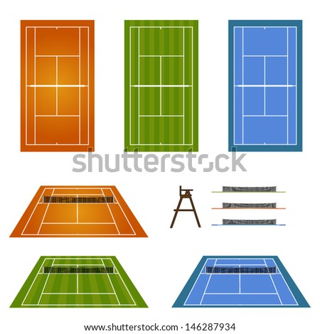 Set of Tennis Courts 2 - stock vector