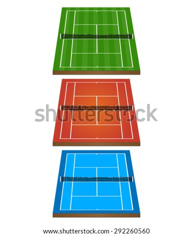 Set of Tennis Courts 3D with Nets 1 - stock vector