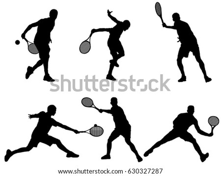 Set of tennis player silhouette