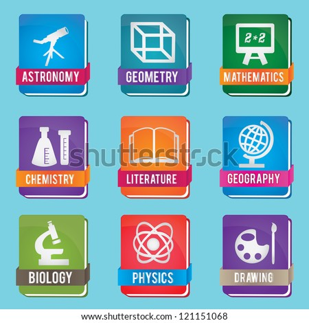 Set of textbook - vector icons - stock vector