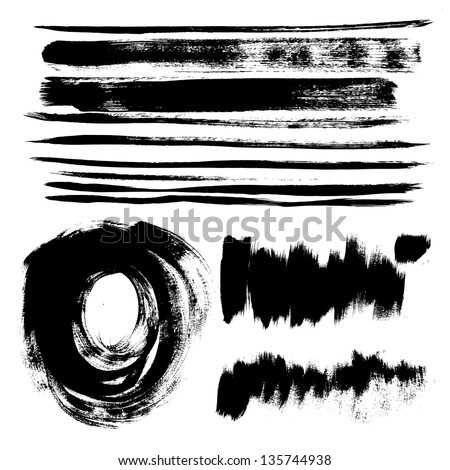 Set of texture strokes of black paint for your design vector - stock vector