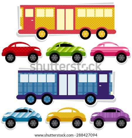 Set of textured cars and buses - stock vector