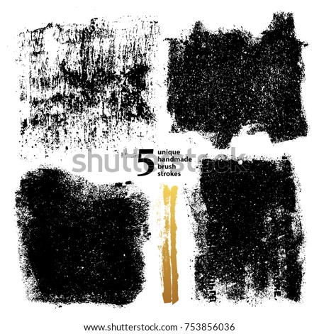 set textured dry brush strokes paint stock vector royalty free