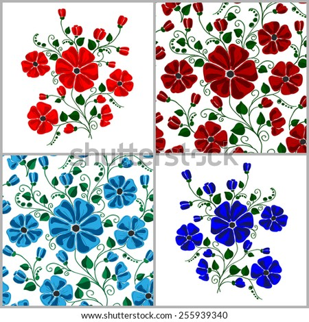 Set Of  Textured Natural Seamless Patterns Backgrounds.  Flowers Illustration Design Elements - stock vector