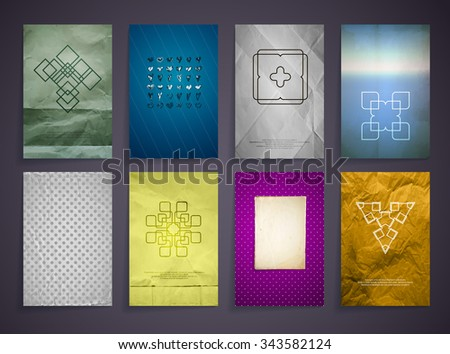 Set of Textured Vintage Paper Backgrounds. Logos. Vector Design Retro Templates Collection for Flyers, Banners and Posters.  Hearts Handwriting ink - stock vector