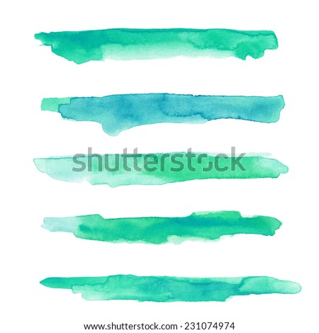 Set of textured watercolor strokes - stock vector