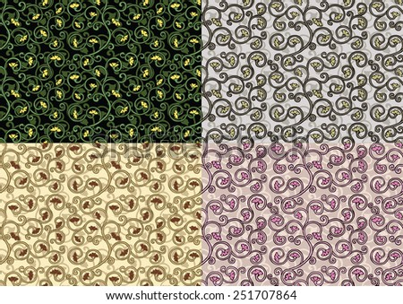 set of textures with an ornate flower
