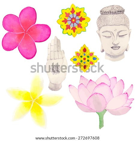 Set of Thai or Buddhism symbols. Hand-drawn elements. Vector illustration. Real watercolor drawing - stock vector
