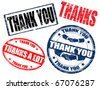 Set of thank you stamps - stock vector