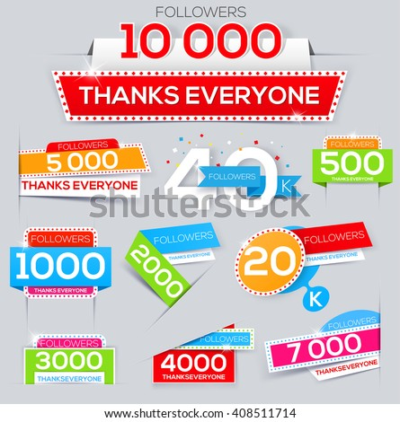 Set of thanks banner for network friends. Thank you followers. Follow Banner. Thank you card for followers. Followers labels - stock vector