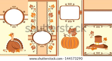 Set of Thanksgiving banners in old-fashioned style. - stock vector