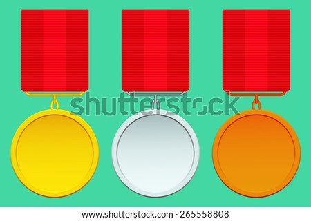 Set of the abstract gold, silver and bronze medals - stock vector
