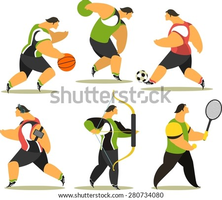 set of the athletes of various sports ball, onions on a white background - stock vector