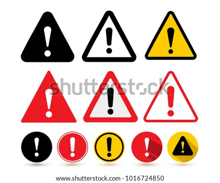 Set Attention Icon Danger Symbol Flat Stock Vector 1016724850