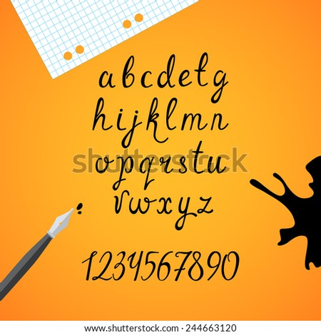 Set of the black imitation ink lower case letters with numerals. Vector font. - stock vector