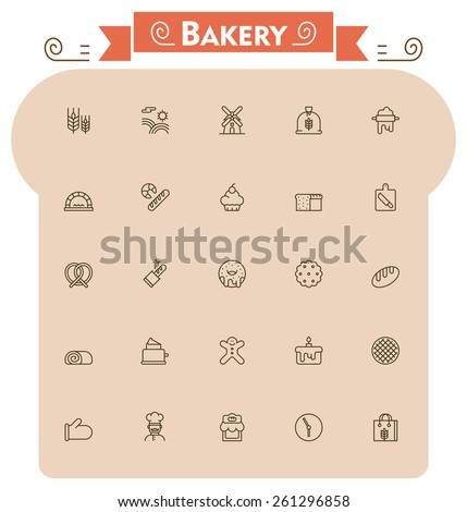Set of the bread and bakery related icons  - stock vector