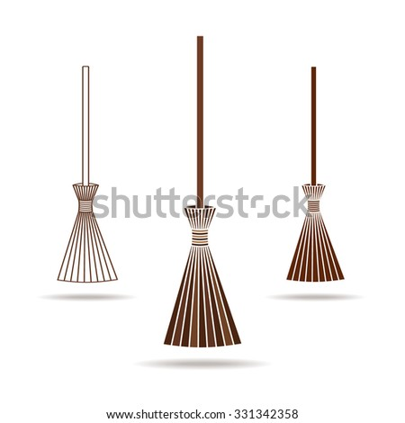 Set of the brooms. Halloween accessory object.  Broom cartoon vector illustration - stock vector