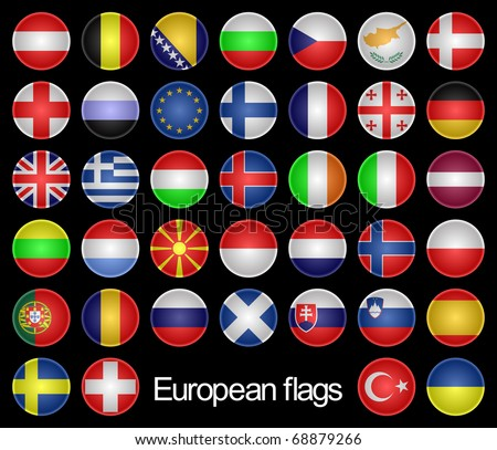 Set of the Buttons as Flags of the European countries on a Black Background.Marks are located in Alphabetical Order. European Flags.