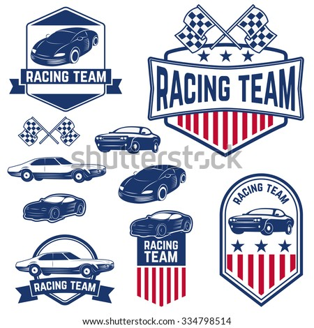 Set of the Car Racing Labels,Icons and Design Elements. Label,logo or badge design template. Vector illustration. - stock vector