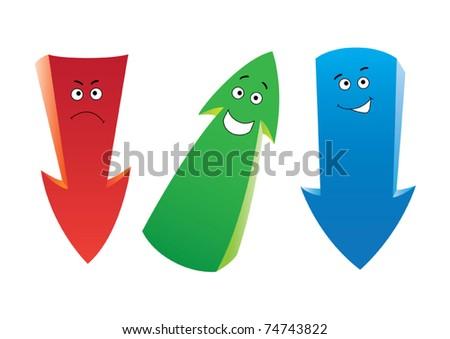 Set of the cartoon emotion arrows - stock vector