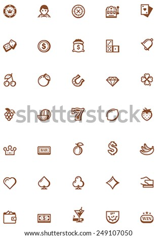 Set of the casino related icons - stock vector