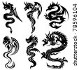 Set of the Chinese dragons, tribal tattoo - stock vector
