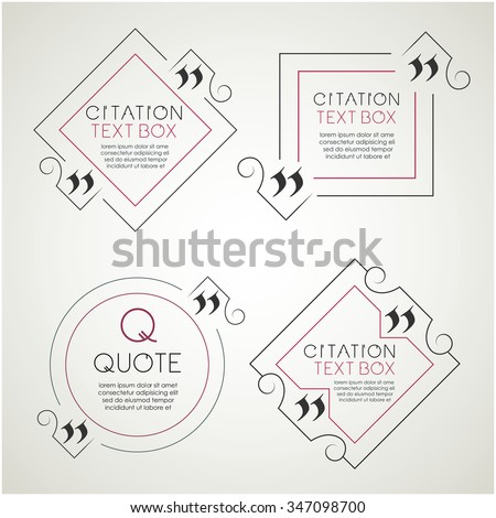 Set of the citation text box. Frame for decoration quote. Quote blank template. Quote bubble. Empty template. Text design. Sketchbook cover design - stock vector