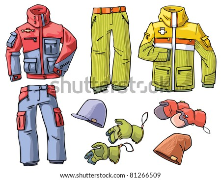 Set of the clothes for a skiing or a snowboarding - the pants, jackets, caps and gloves. - stock vector