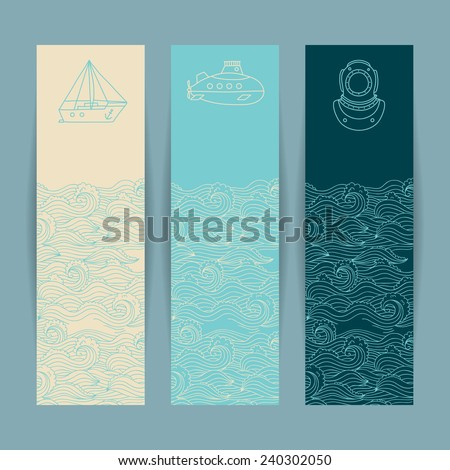 Set of the colorful banners with nautical design elements in doodle style on the marine background - stock vector