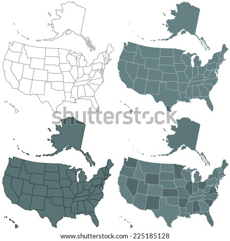 Set of the contour USA maps illustration. All objects are independent and fully editable