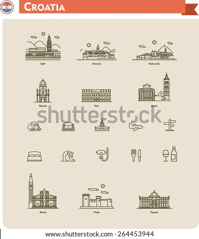 Set of the Croatia  traveling related icons - stock vector