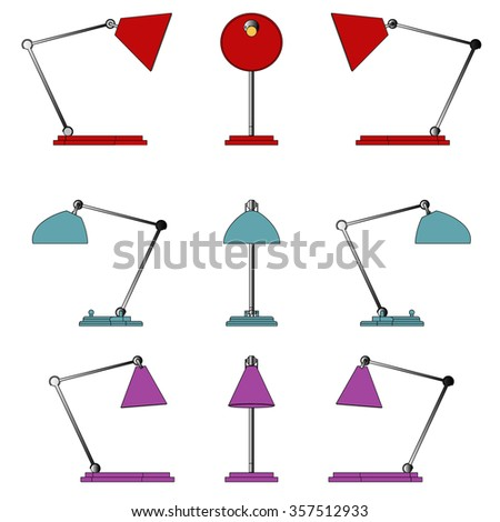 Set of the desk lamps. The objects are isolated against the white background and shown from different sides. Vector Illustration.