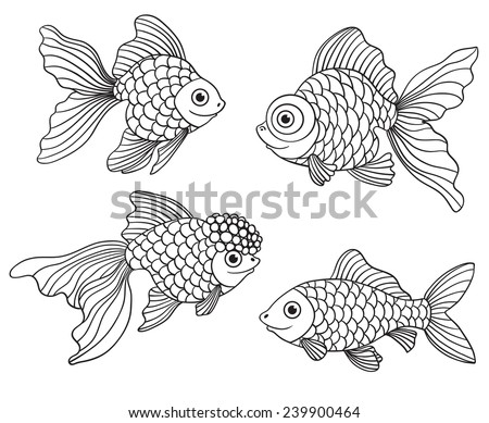 Set of the different linear goldfishes. Vector illustration. Isolated on white. - stock vector